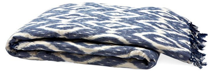 Ikat Cotton Throw, Blue/White