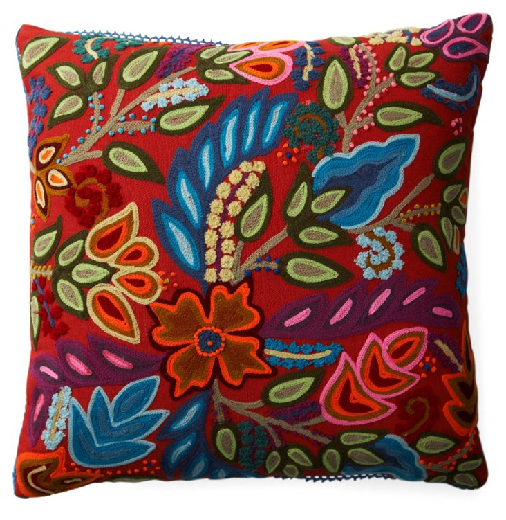 Hari 16x16 Embroidered Pillow, Multi