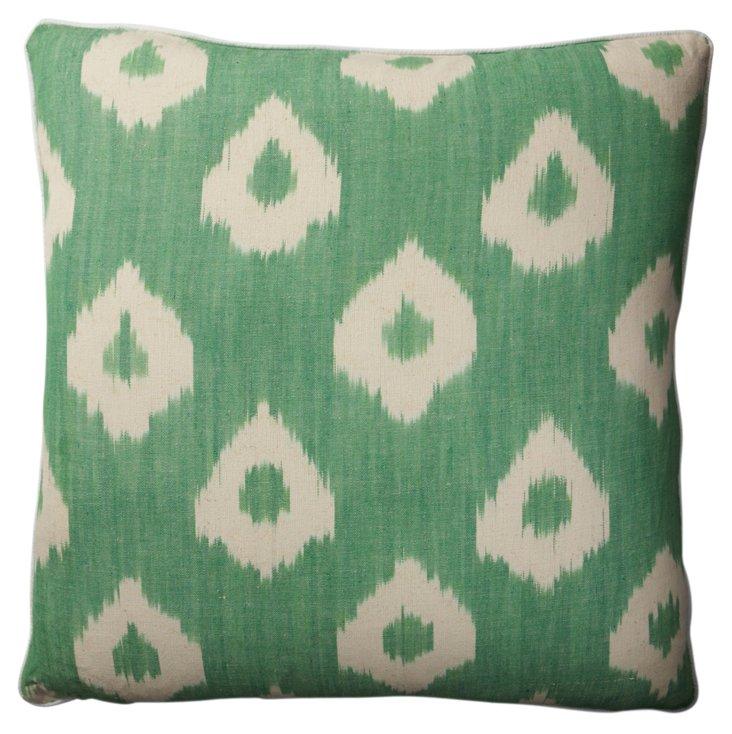 Ikat 21x21 Canvas Pillow, Green