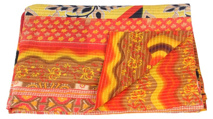 Hand-Stitched Kantha Throw, Robin