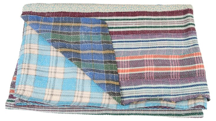 Hand-Stitched Kantha Throw, Jo