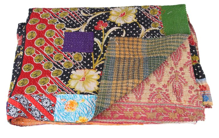 Hand-Stitched Kantha Throw, Hallie