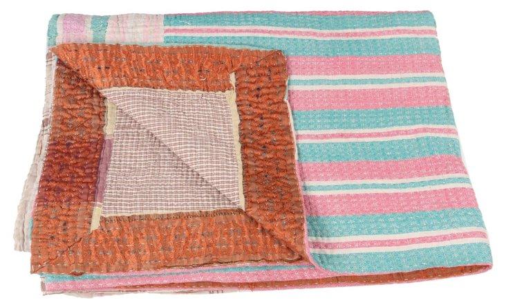 Hand-Stitched Kantha Throw, Muriel