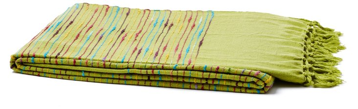 Fringed Cotton Throw, Lime