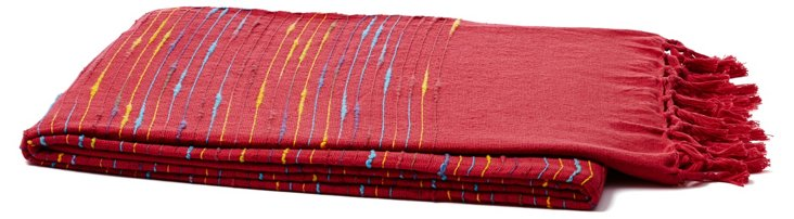 Fringed Cotton Throw, Red