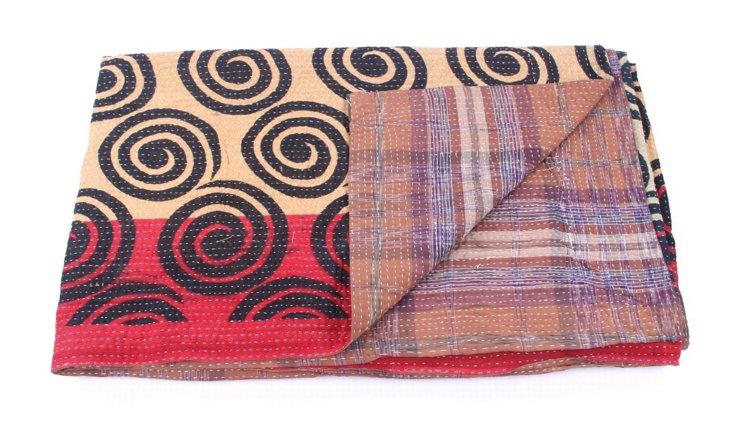 Hand-Stitched Kantha Throw, Anna