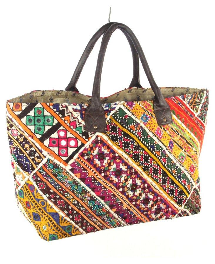 Embroidery Jatti Tote, Colorblock