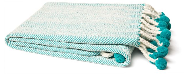 Herringbone Cotton Throw, Aqua