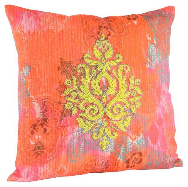 Damask 18x18 Satin Cotton Pillow, Yellow