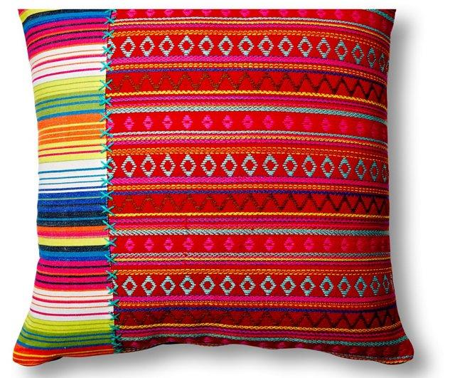 Mamasita Stripes 20x20 Pillow, Red