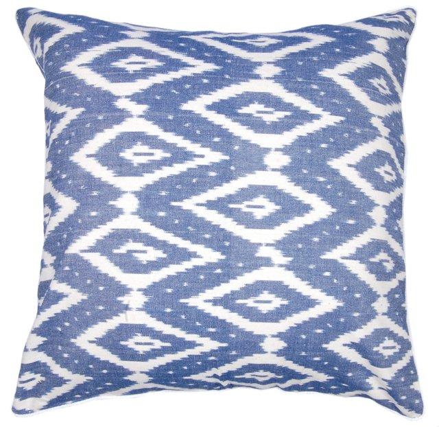 Ikat Diamond 21x21 Cotton Pillow, Blue