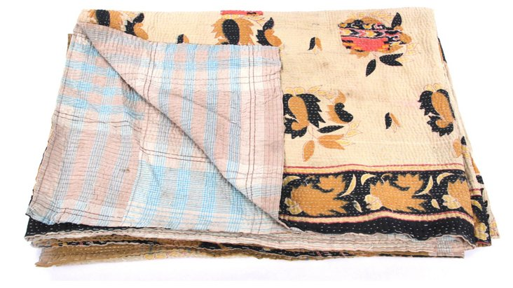 Hand-Stitched Kantha Throw, Maria
