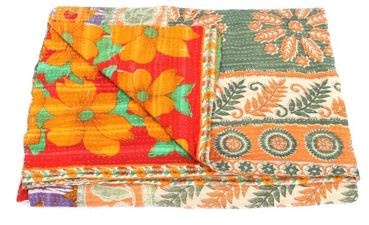 Hand-Stitched Kantha Throw, Stripe