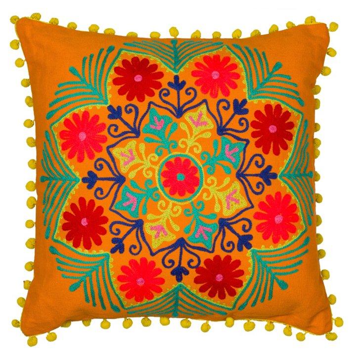 Botanical 16x16 Cotton Pillow, Orange