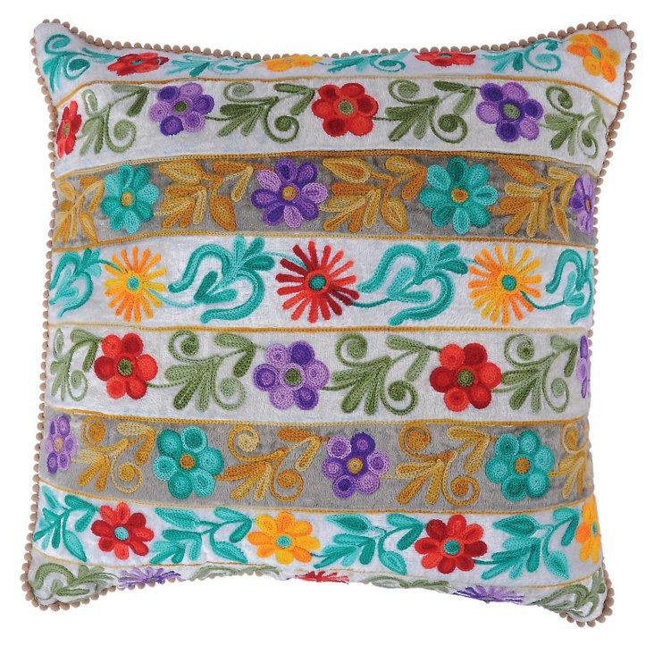 Flowery 16x16 Pillow, White