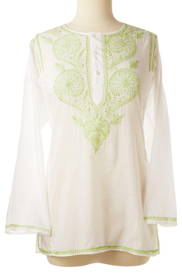 Kurta Cotton Embroidery, Teal