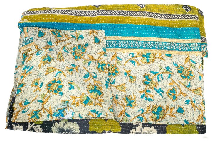 Hand-Stitched Kantha Throw, Olivia