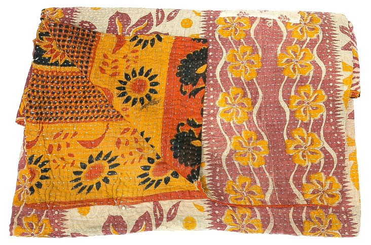 Hand-Stitched Kantha Throw, Trista