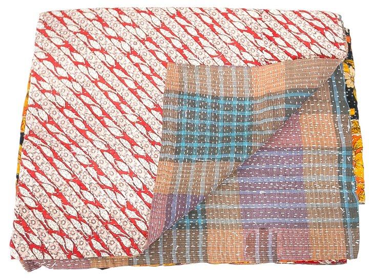 Hand-Stitched Kantha Throw, Bindu