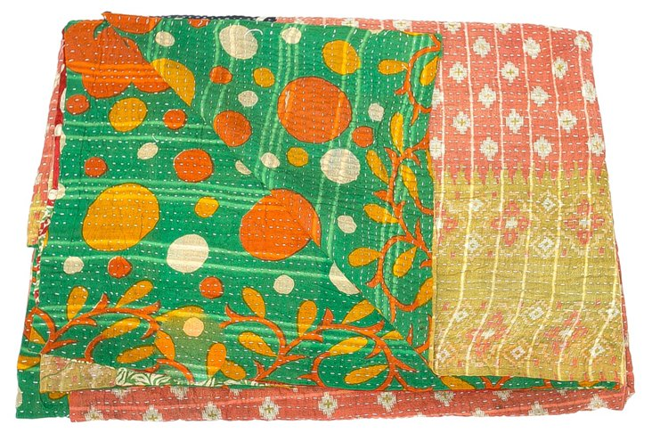 Hand-Stitched Kantha Throw, Ruffles