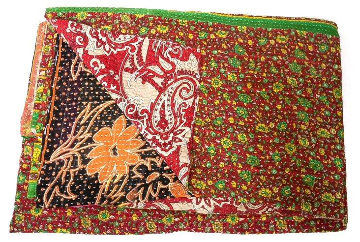 Hand-Stitched Kantha Throw, Jerta