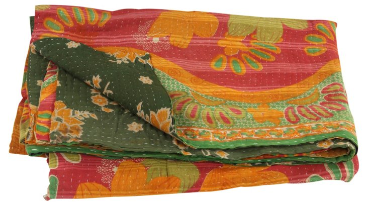 Hand-Stitched Kantha Throw, Tresa