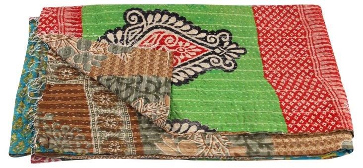 Hand-Stitched Kantha Throw, Pond