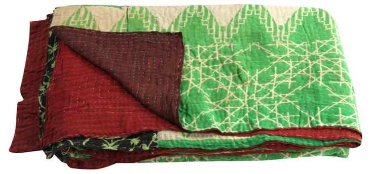 Hand-Stitched Kantha Throw, Francois
