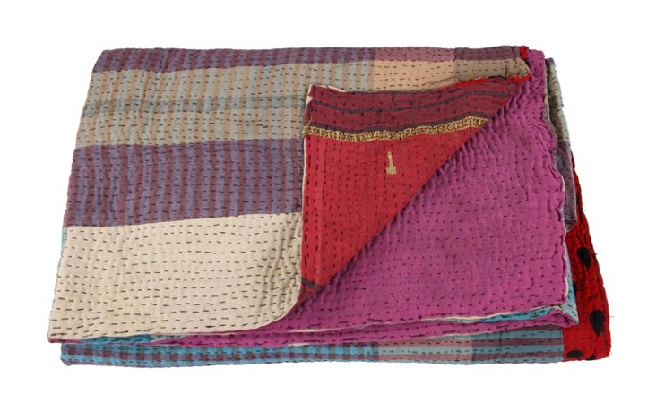Hand-Stitched Kantha Throw, Kim