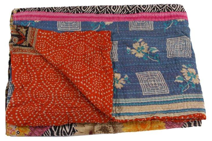 Hand-Stitched Kantha Throw, Tatvan