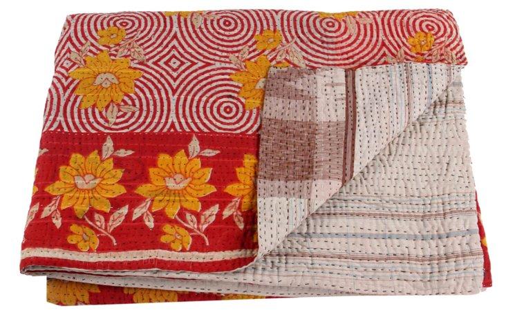 Hand-Stitched Kantha Throw, Tara