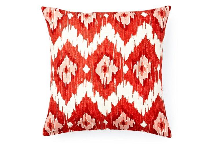 Chevron Ikat 16x16 Pillow, Red/White