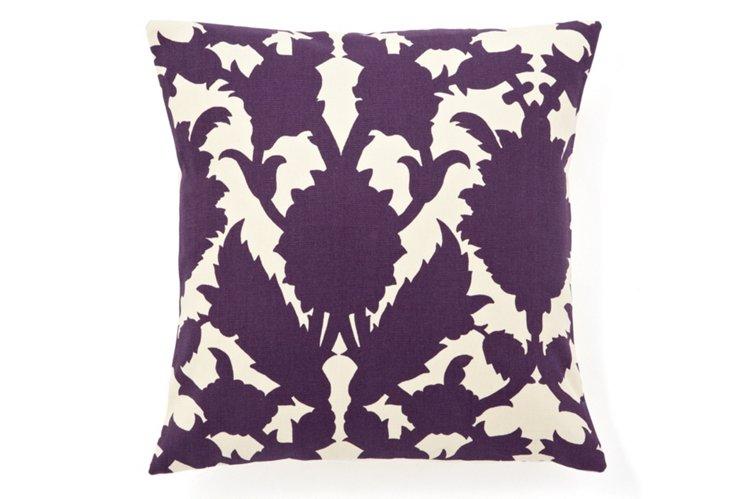 Mulberry 16x16 Pillow, Purple/Beige