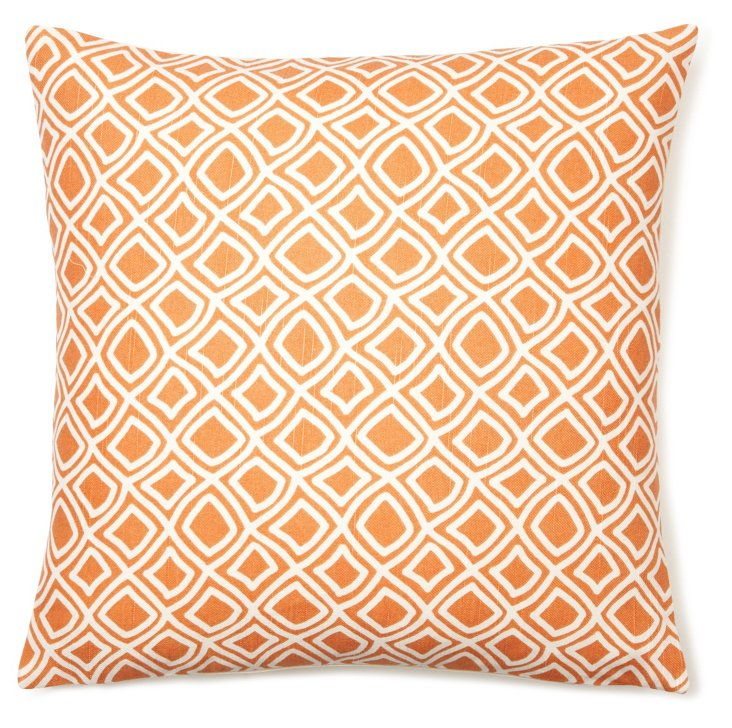 Geo 18x18 Cotton Pillow, Orange
