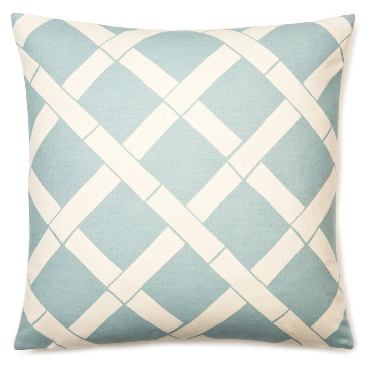 Lattice 18x18 Cotton Pillow, Ice Blue
