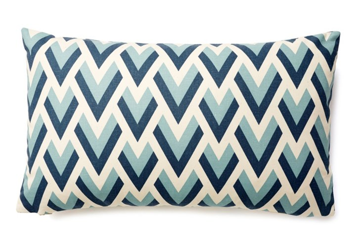 Geo 12x20 Cotton Pillow, Blue
