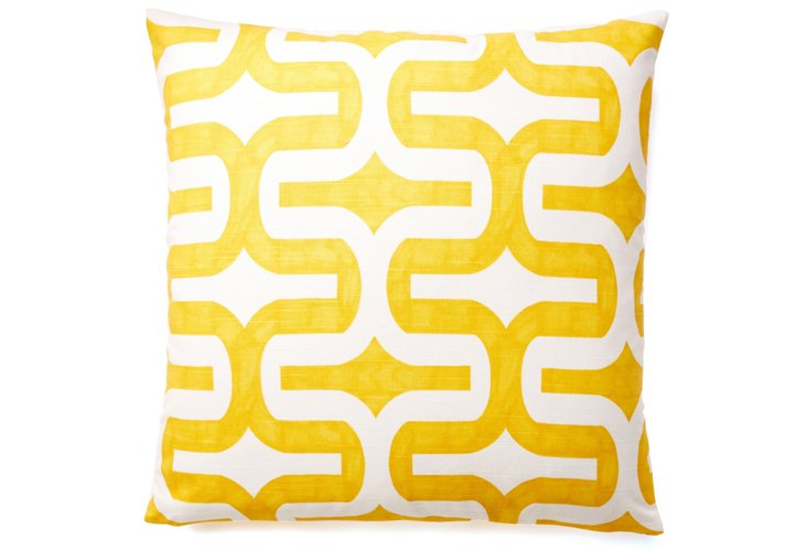 Geo 20x20 Cotton Pillow, Yellow