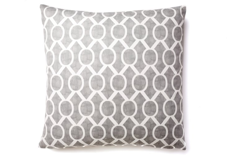 Geo Column 20x20 Cotton Pillow, Gray