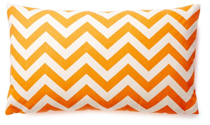 Chevron 12x20 Cotton Pillow, Orange