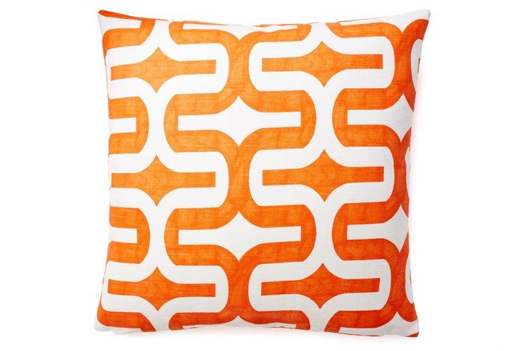 Geo 20x20 Cotton Pillow, Orange