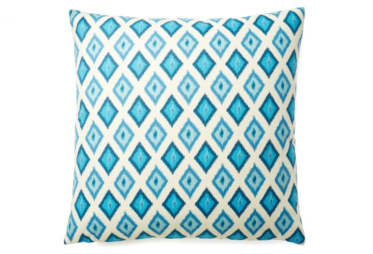 Geo Ikat 20x20 Cotton Pillow, Turquoise