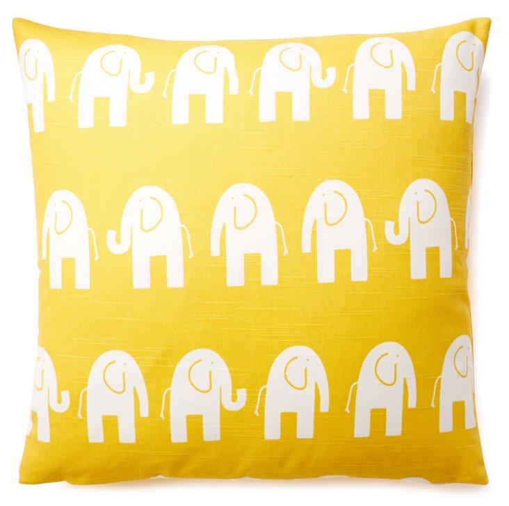 Elephant 20x20 Cotton Pillow, Yellow