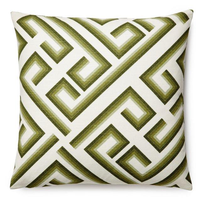 Kronos 20x20 Cotton Pillow, Olive