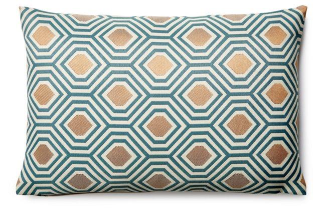 Galvani Peacock 12x18 Pillow, Teal