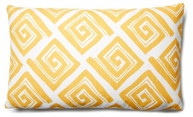 Maze 12x20 Cotton Pillow, Yellow