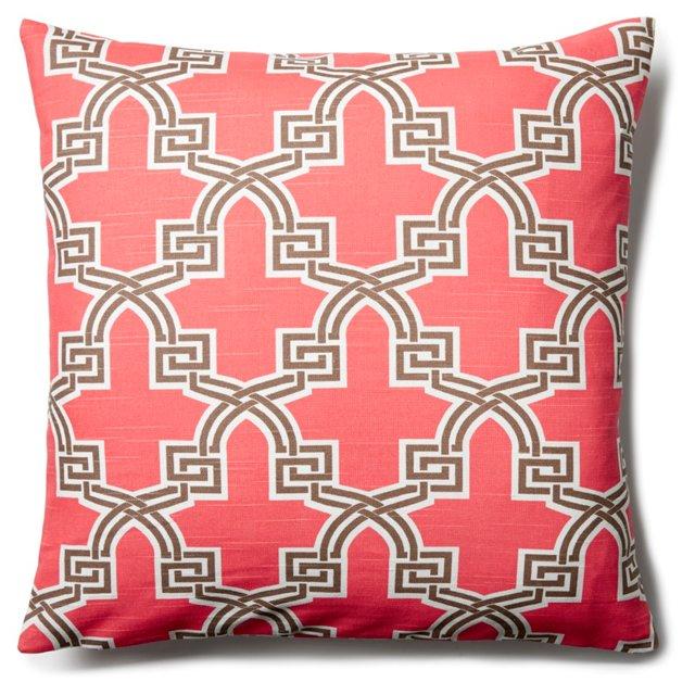 Temple 20x20 Cotton Pillow, Coral