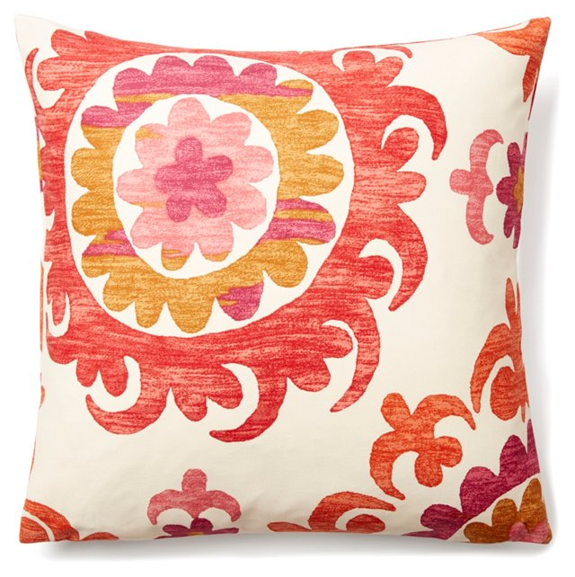 Suzani Garden 20x20 Cotton Pillow, Coral