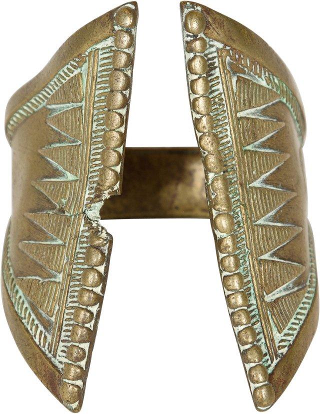 19th-C. African Brass Bracelet, Triangular