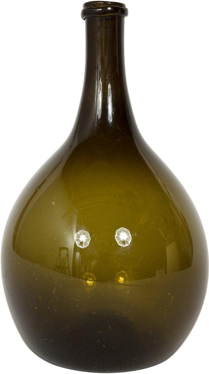 19th-C. Handblown Green Vase III