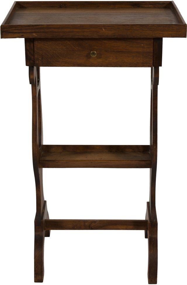 19th-C. Wood Bedside Table